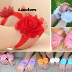 14colors Shabby Frayed Flower shoes baby Sandals Footwear Barefoot Toe Blooms