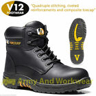 V12 VR640 Bison Black Metal-Free Derby Leather Safety Work Boots Toe Cap Sole