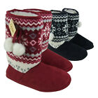 Ladies Dunlop Furry Ankle Boot Bootee Slipper Warm Womens Eskimo Slippers 3-8