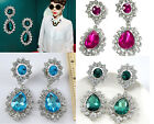 Fashion Exquisite Elegant Colorful Crystal WaterDrop Ear Stud Earrings Jf492