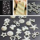 50pcs DIY Craft Flatback White Resin Bow Flower Heart Pearl Embellishments Phone