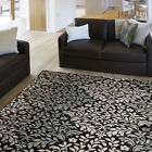 Floral Brown Oriental Area Rug Modern Casual Transitional Leaves Persian Carpet