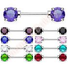 Double Front Facing Round CZ Nipple Bar Body Jewellery CHOOSE SINGLE OR PAIR