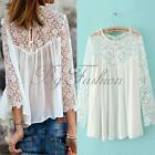 UK8-22 Women Long Sleeve Lace Hollow Out Chiffon Blouse Pleated White Top Shirt