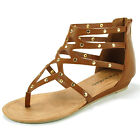 Womens Gladiator Sandals Strappy Thong Studded Ankle Roman Shoes Slip On Zipper