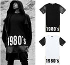 weilin Unisex Hipster 1980 Leather Zip Hip Hop Extra Long T Shirts Dress Y0617