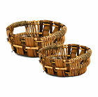 Round Wicker Display Kitchen Storage Bread Fruit Basket with Handle Holes