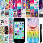 For Apple iPhone 5C Light Lite Cute Design PATTERN HARD Case Back Cover + Pen