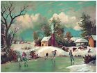 5932.People ice skating in frozen river.snow covered land.POSTER.Home Office art