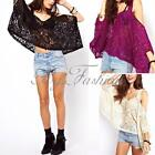 Sexy Women Lace Off Shoulder Hollow Batwing Loose Blouse T Shirt Tank Tops Cami