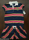 NWT Ralph Lauren Girls S/S Navy Pink Striped Rugby Crested Dress 12/14 16 NEW