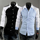 Color block Lapel Frech style button down Cotton blend hot 2014 new Dress shirt