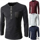 Fashion sexy long sleeve Cotton blend button crew neck soft Tee shirt Blouses