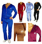 Ladies Womens Sexy Full Velour Tracksuit Jogging Hoody Suit With Diamante Crown