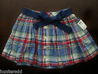 NWT Ralph Lauren Girls Button Front Belted Plaid Skirt 10 12 14 16 NEW $45 4e
