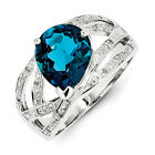 New Sterling Silver w/ Rhodium  Diamond & London Blue Topaz Ring Choose Size