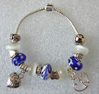 Blues & Whites Cats Eye & Swirls European Charm Bracelet with Heart Charms