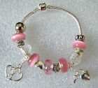EUROPEAN CHARM BRACELET WITH PINK & BLUE CRYSTAL BEADS & HEART & LOCKET CHARMS