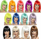 Sexy Short Straight Bob Wig With Fringe 60s 70s 80s 90s Neon Ladies Fancy Dress