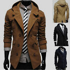 NEW Mens Slim Double Winter Trench Coat Breasted Hoodie Overcoat Jackets Outwear