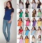 FASHION CREW/ROUND NECK Short Sleeve Women/Junior Solid Top Cotton T Shirt S-XXL