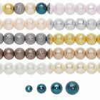 Lot of 20 Bumpy Textured Stardust Round Glass Pearl Luster Beads Small - Big