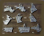 .925 Sterling Silver Charm, Choice of State Design, New