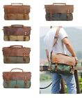 Men's Women Vintage Leather Canvas Bag Shoulder Handbag Briefcase Satchel Bag