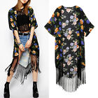 Summer Vintage Ladies Boho floral tassel Long Kimono Coat Cardigan Jacket Blouse