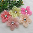 10/50pcs Organza Ribbon Flowers Bows w/ Rhinestone Wedding Dec Appliques 2 layer