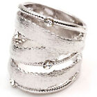 white Gold GP CZ swarovski crystal wide band wrap matt bridal cocktail ring t254