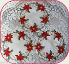 "HOLIDAY SPLENDOR  Lace 7"" Doily  ~ SET OF 3 ~  Christmas Red Poinsettia"
