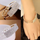 Womens Fashion Elegant Wristband Bangle Crystal Cuff Bracelet Bling Hand Chain