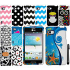 For LG Optimus F3 LS720 PATTERN HARD Protector Case Phone Cover Accessory + Pen