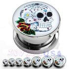 1Pair Stainless Steel Rose Sugar Skull Head Ear Tunnels Plugs Stretcher Expander