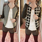 Women Faux Leather Patchwork Slim Short Coat Jacket Long Sleeve Blazer Outerwear