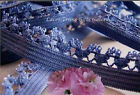 """12/24 Yards Blue Elastic Lace Trim 1/2"""" Fancy Edge N09V Buy More-Ship No Charge"""