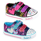 KIDS GIRLS SKECERS TWINKLE TOES LIGHT UP TRIPLE TIME VELCRO TRAINERS SHOES SIZE