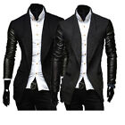 Mens Winter Warm Slim Sweater Cardigan Jackets Coat Leather Sleeves Parka Trench