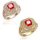 Size 8 Square Red Rhinestone Circular Shape Fashion Ring 20j0