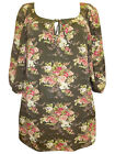 Ex  Ann Harvey Longline Floral Print Tie Neck Tunic Top Sizes  UK 18 to 26 NEW