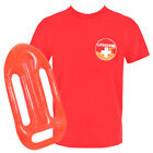 BEACH WATCH MENS LIFEGUARD TOP + FLOAT, RED T-SHIRT FANCY DRESS