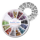 4 Sizes 12 Colors/Silver Nail Art Gem Rhinestone Round Charm Stud Decoration
