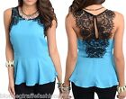 Turquoise/Black Eyelash Lace Shoulders Keyhole Back Sleeveless Peplum Blouse Top