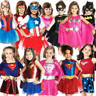Superhero Girls Fancy Dress Book Characters Childrens Halloween Kids Costume New
