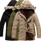 New Mens Hood Parka Cotton Coat Faux Fur Collar Winter Warm Long outwear Jackets