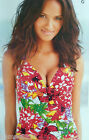 New Next Vibrant Multi-Coloured Floral Halterneck Tankini Top Sz 8