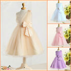 Beige Yellow Christmas Wedding Flower Girls Party Dresses SIZE Age 2 to 10 Years