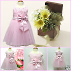 Pink Christening Christmas Wedding Flower Girls Dresses SIZE 0 3 6 9 12 18Month