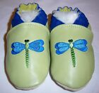 Moxiesbabyshoes pastel green shoes genuine leather dragonfly HANDMADE IN CANADA